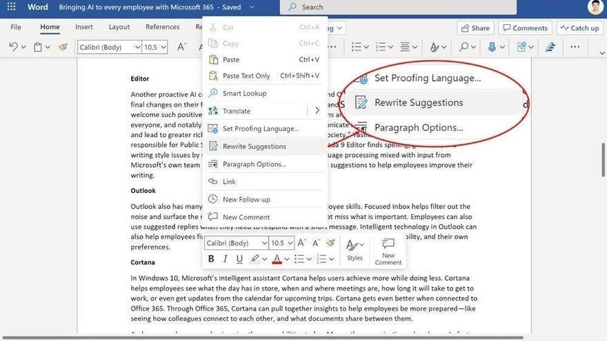 Microsoft Word introduce las sugerencias para oraciones enteras