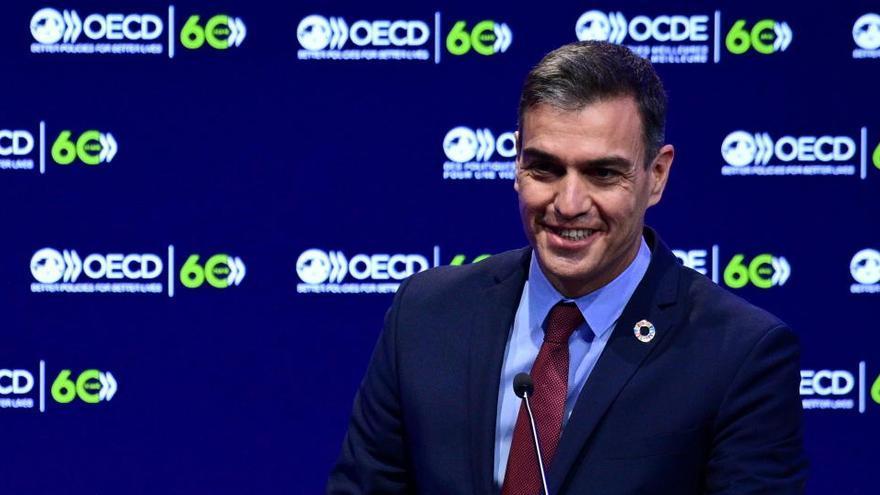 """Sánchez, ante la OCDE: """"El crecimiento económico no garantiza el bienestar"""""""