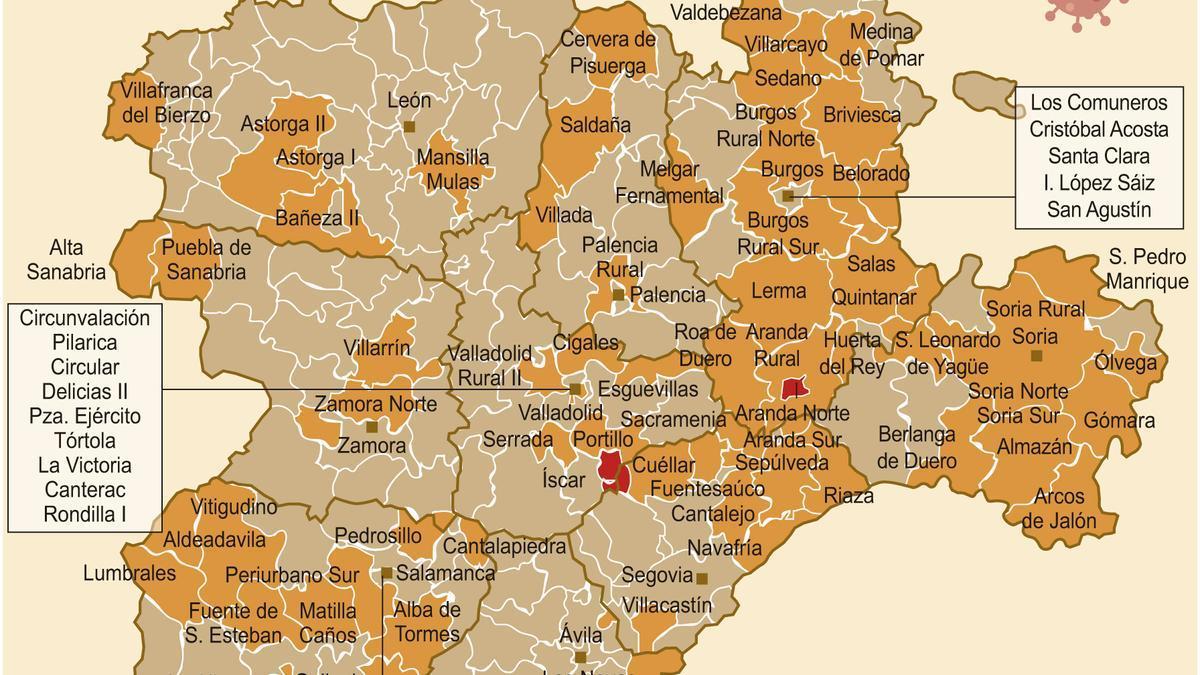 Así está el mapa del riesgo de confinamiento por COVID en Castilla y León