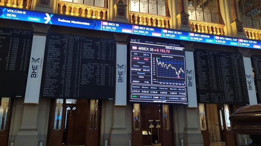 El Ibex 35 cae un 0,38% al cierre, pero mantiene los 8.100 puntos