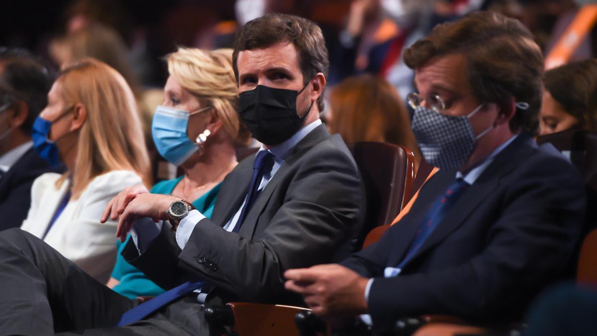 La vicesecretaria general del PP Ana Beltrán, la expresidenta de la Comunidad de Madrid Esperanza Aguirre, el presidente del PP, Pablo Casado, y el alcalde de Madrid, José Luis Martínez-Almeida