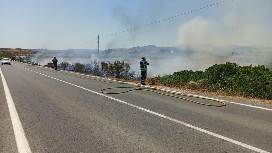 Cortan la carretera de Novelda-Monóvar por un incendio