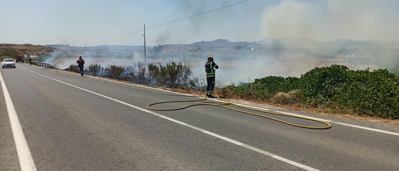 Los bomberos sofocando el incendio en la carretera de Novelda-Monóvar.