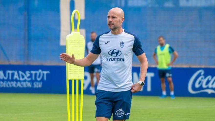 Xavi Calm, durante un entreno en el Estadi Balear.