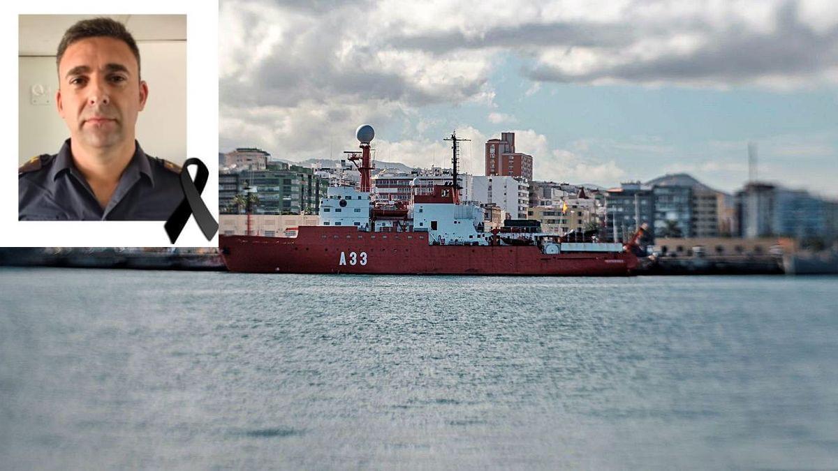 El buque oceanográfico 'Hespérides', y una foto de Francisco Rodríguez Sánchez