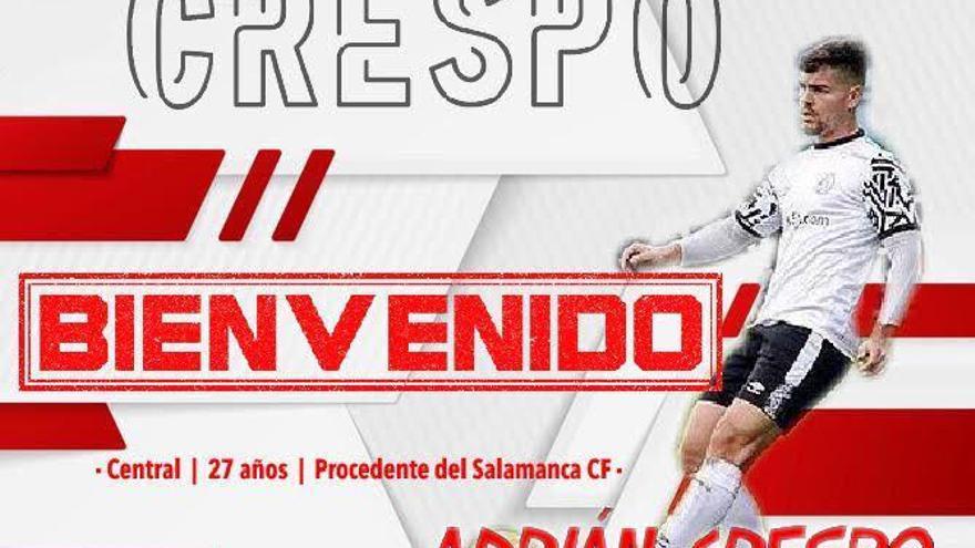 El cordobés Adrián Crespo, tercer fichaje del Zamora CF