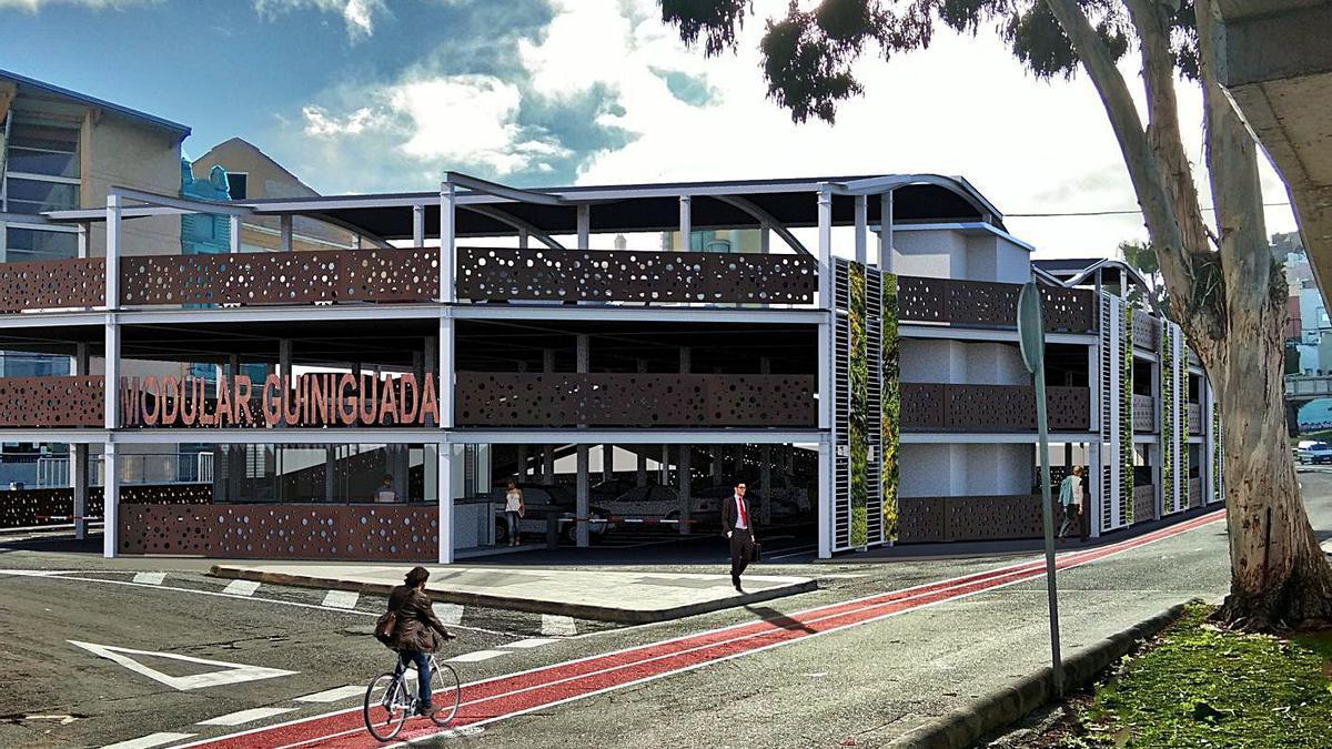 Proyecto del nuevo aparcamiento disuasorio junto a la parroquia de San Roque, en el Guiniguada.     LP/DLP