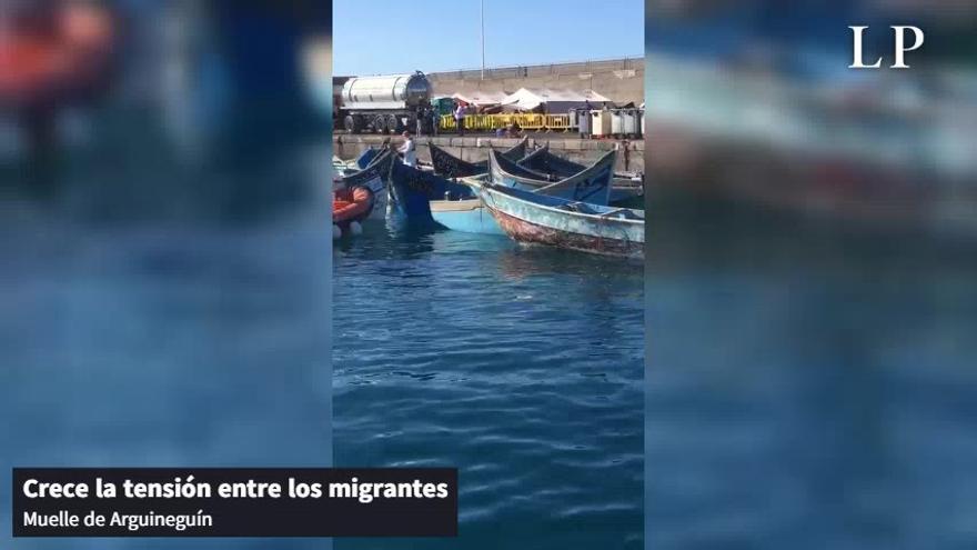 Pelea entre migrantes en el muelle de Arguineguín