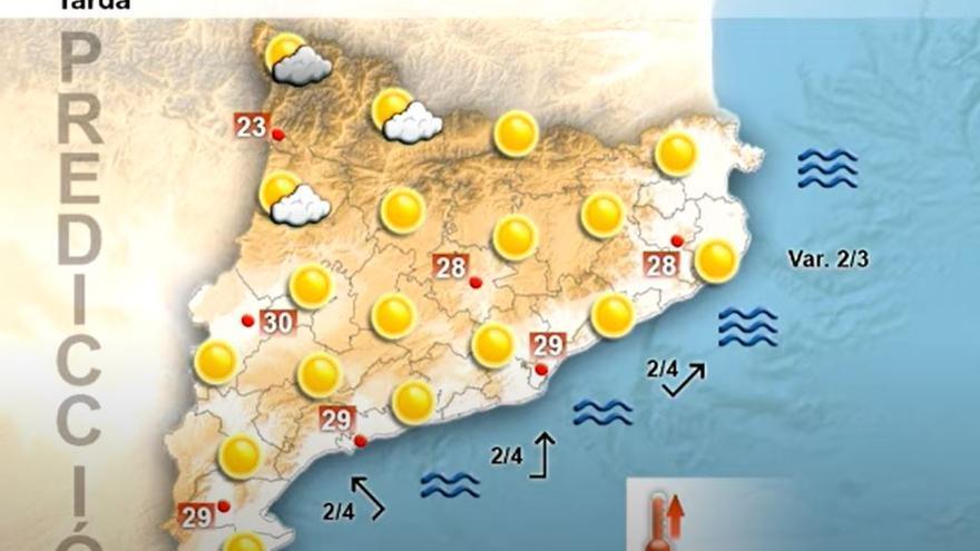 Termòmetres que poden superar els 30ºC a la regió central aquest dilluns