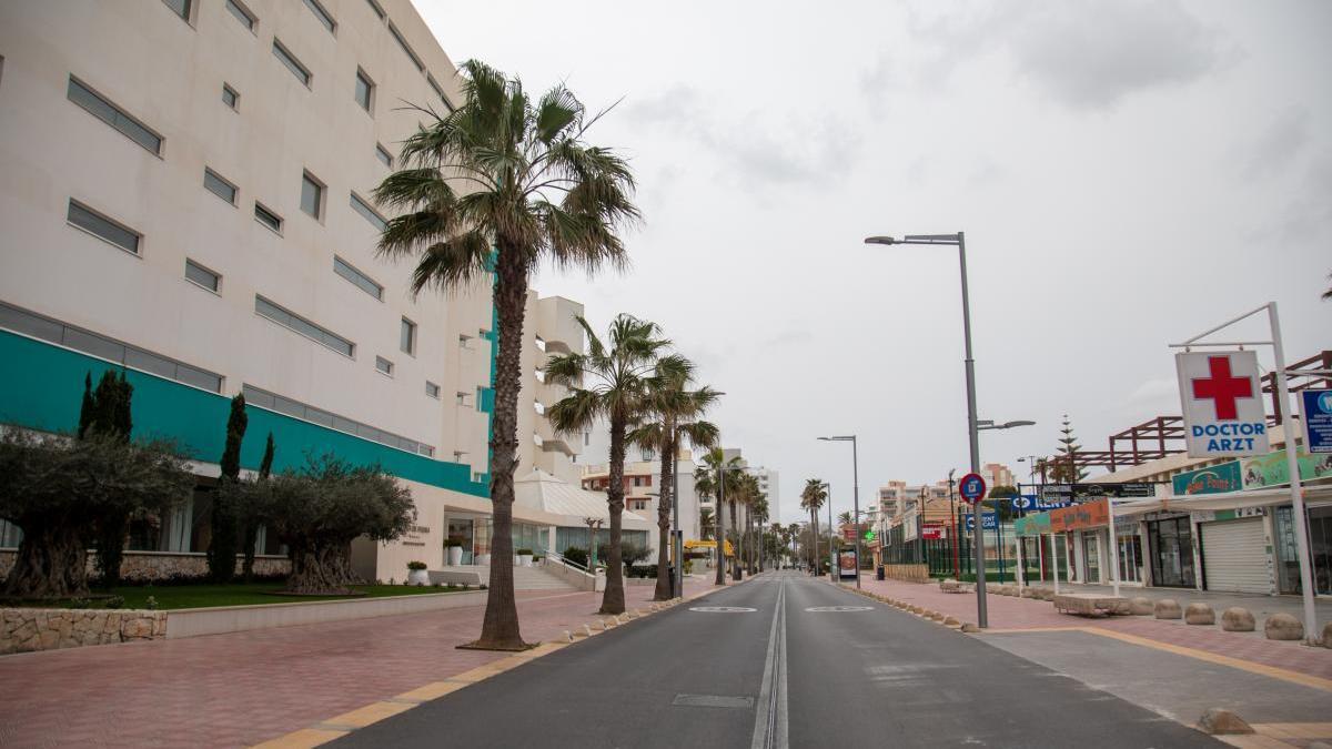 Playa de Palma durante el confinamiento.