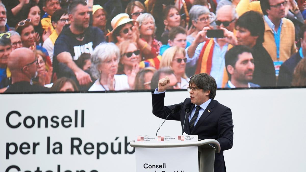 Una imagen de Puigdemont en Perpiñán