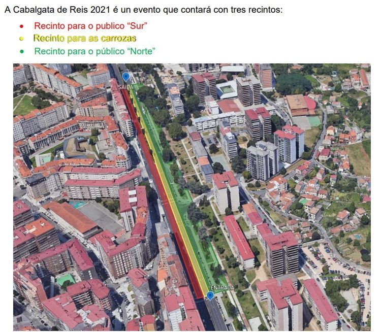 Plano de distribución de la Cabalgata de Reyes estática en Vigo 2021