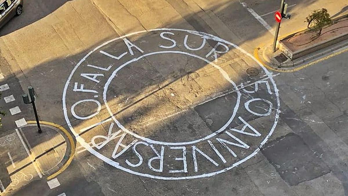 Pintura de calle de la comisión de Rubén Vela, el año 2019.    FB RELA