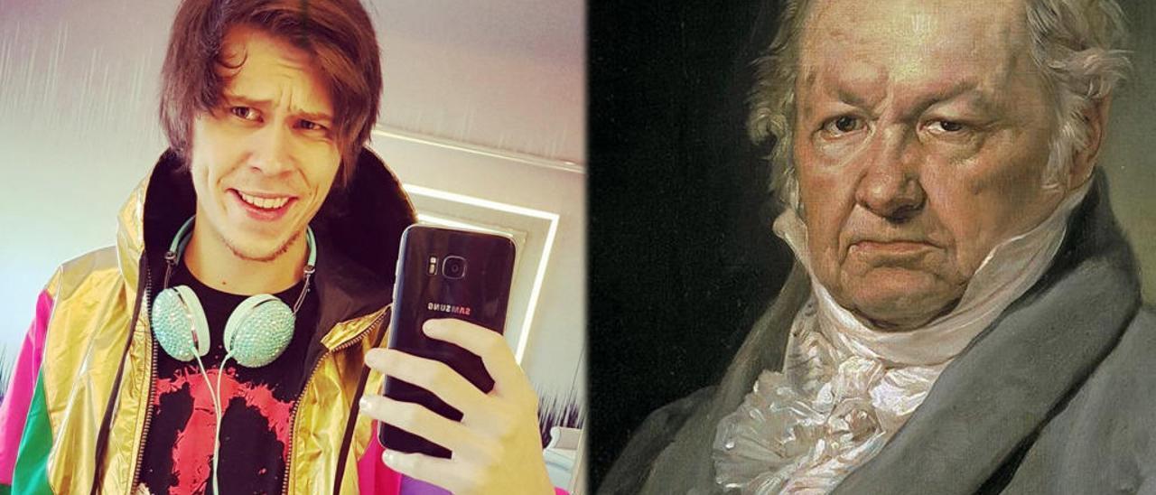 El popular youtuber El Rubius, y el genio de la pintura Francisco de Goya.
