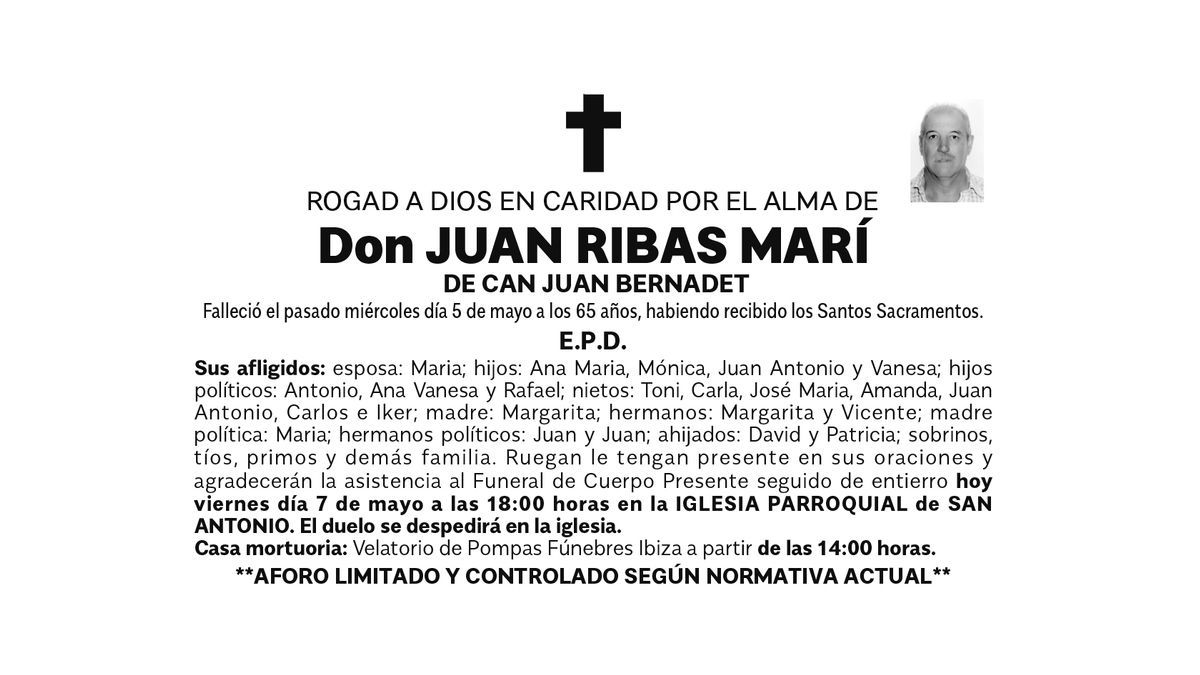 Esquela Juan Ribas Marí