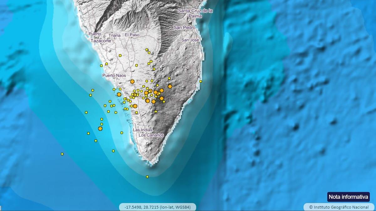 Detectados 281 terremotos en el volcán Cumbre Vieja, en La Palma