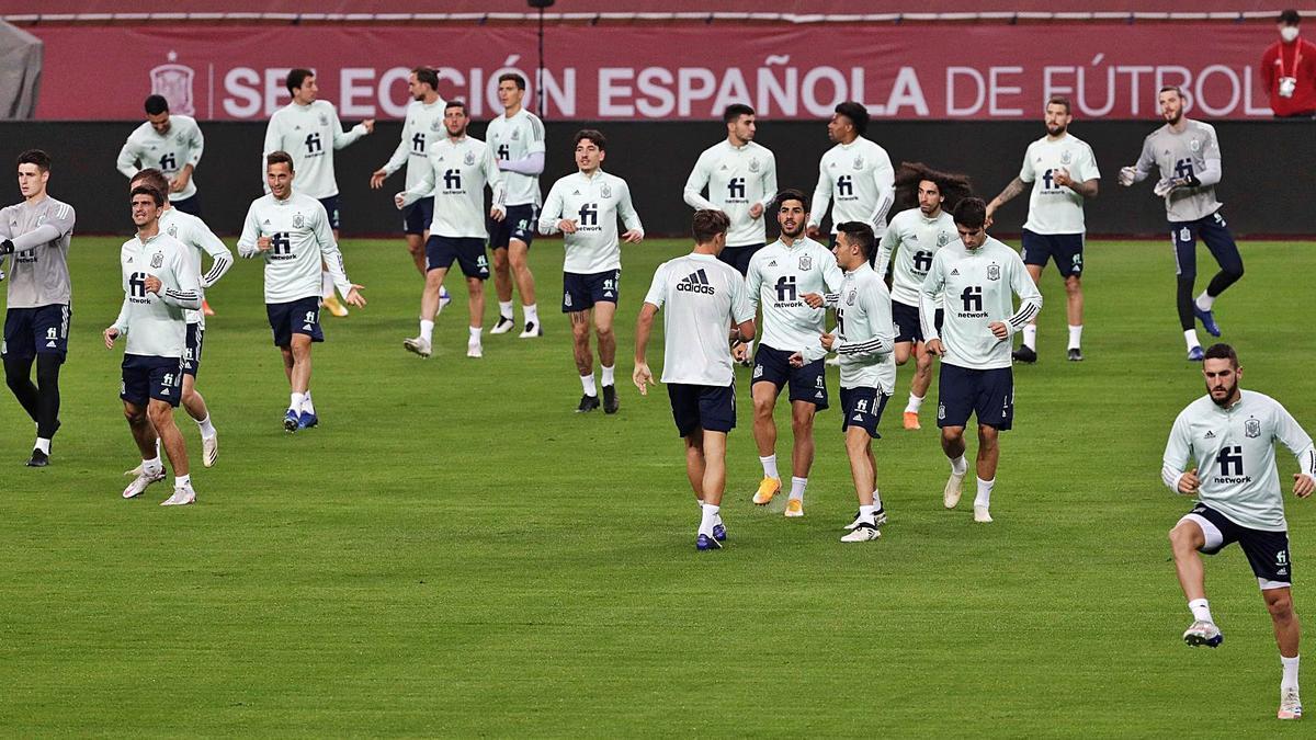 Los jugadores de la selección española, durante el entrenamiento de ayer. |  // EFE