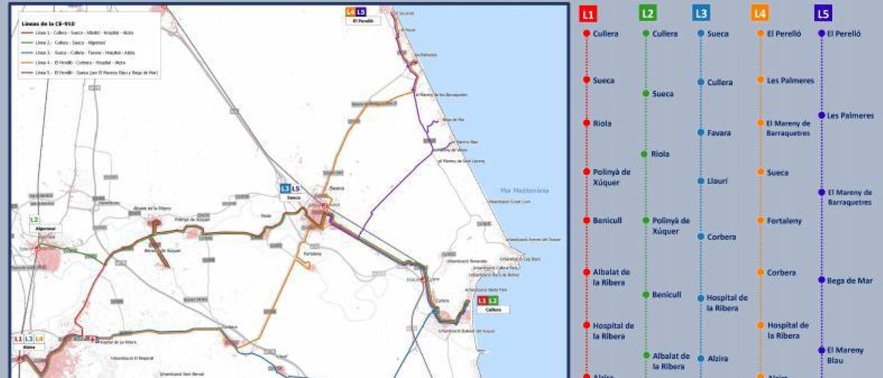 Red de conexiones en autobús dada a conocer ayer por el conseller Arcadi España. | LEVANTE-EMV
