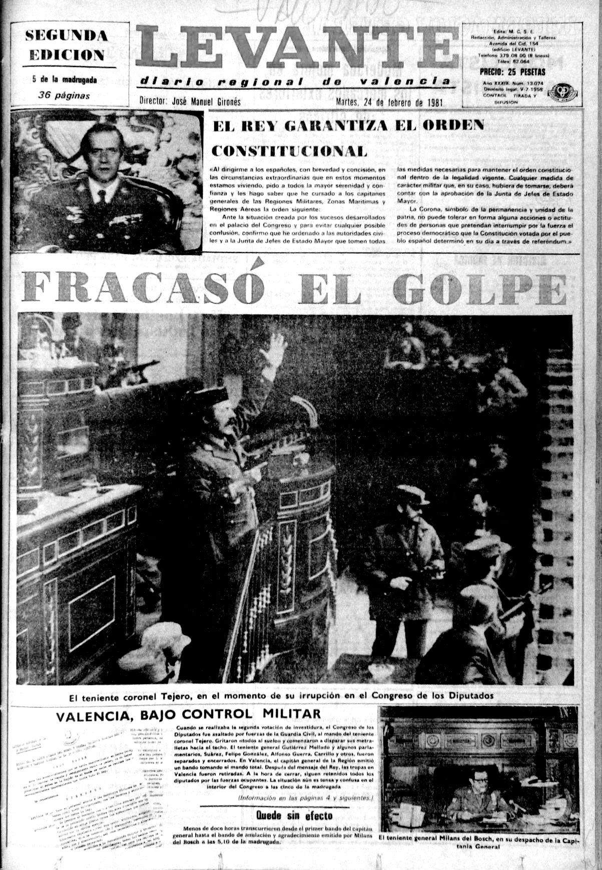 Así vivió el 23-F València hace 40 años