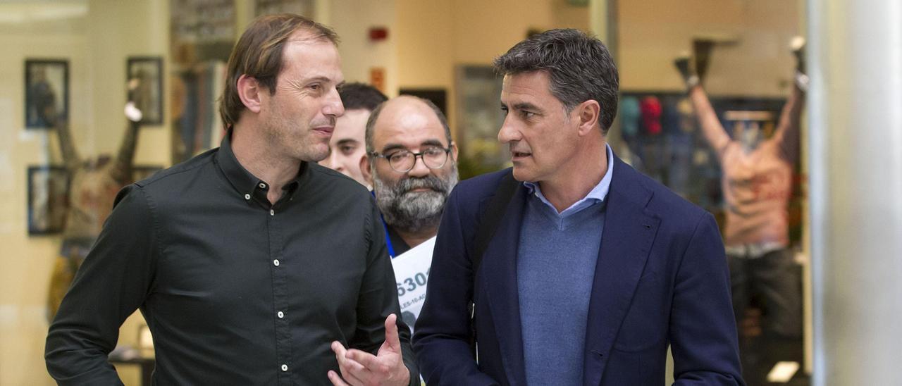 Arnau con Míchel, en su etapa en el Málaga