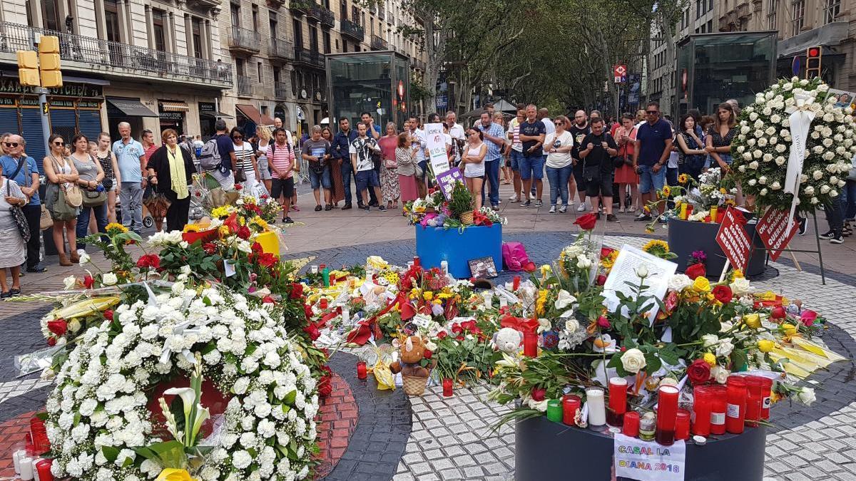 Ofrenes florals a la Rambla de Barcelona.