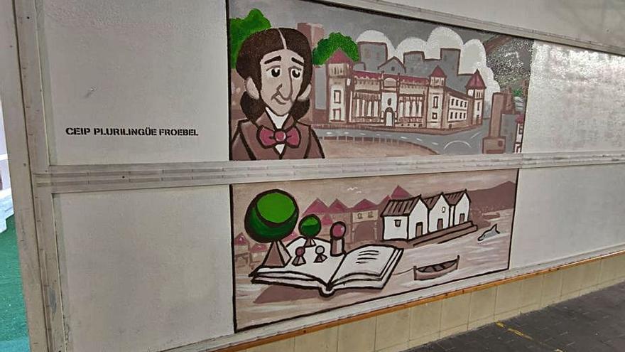 El pedagogo Friedrich Froebel, A Moureira y A Barca, protagonizan un nuevo mural