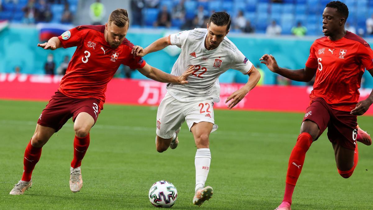 Pablo Sarabia en el partido ante Suiza