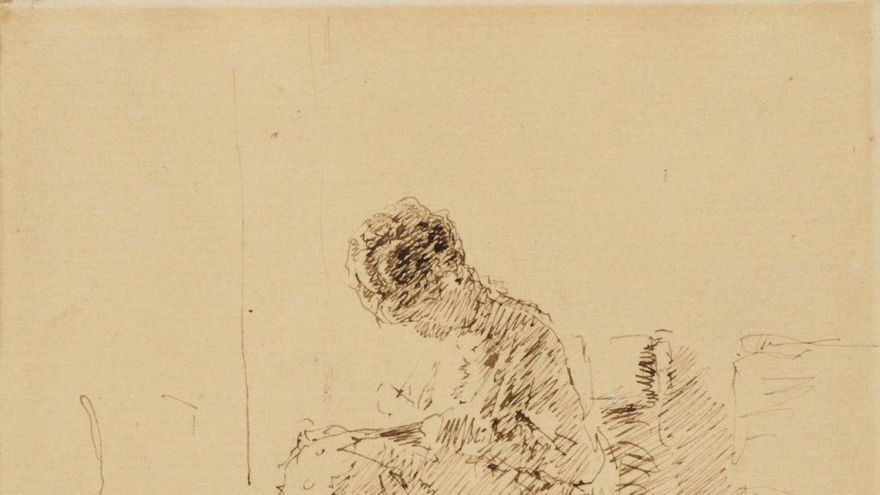La señora de Agrasot bordando de Mario Fortuny es la obra invitada en la web del Museo de Bellas Artes