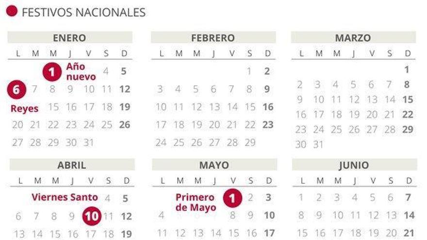 Calendario laboral del 2020: puentes y días festivos por autonomías