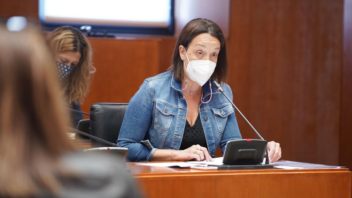 La diputada del PP portavoz de Hacienda, Carmen Susín, esta mañana en las Cortes de Aragón.