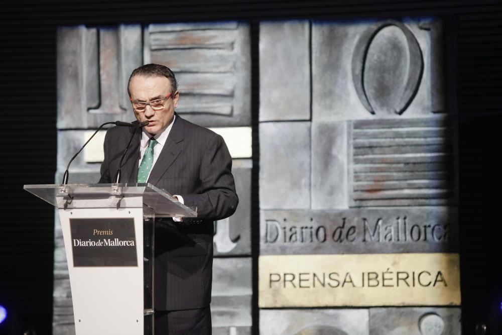Javier Moll, presidente de Prensa Ibérica, durante su discurso en la gala de entrega de los Premis Diario de Mallorca