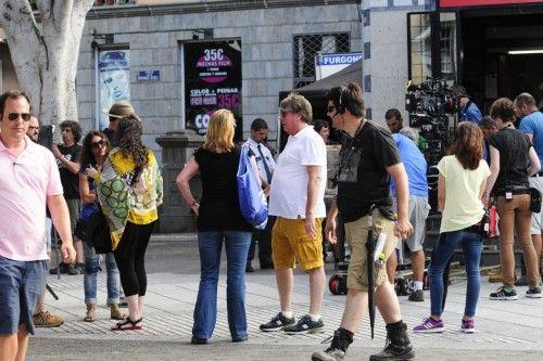 Rodaje de la Pelicula Wild Oats con Demi Moore en la Alameda de Colon