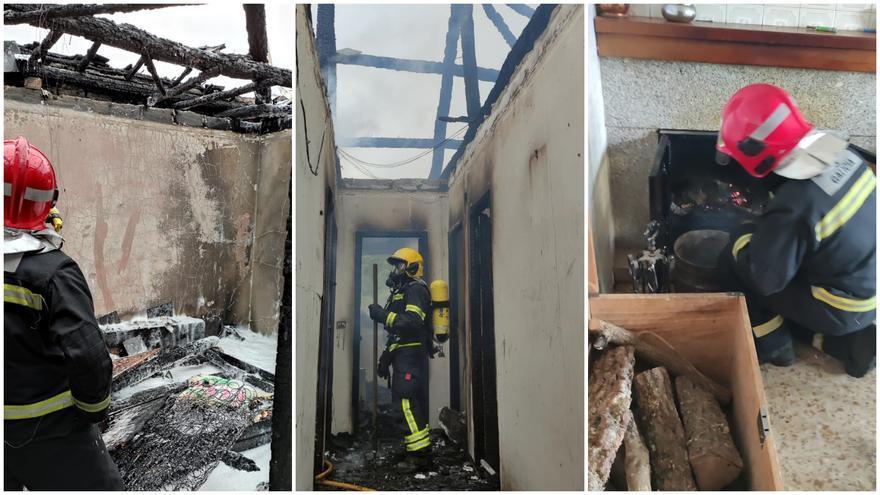 Un incendio devora gran parte de una vivienda en Ourense