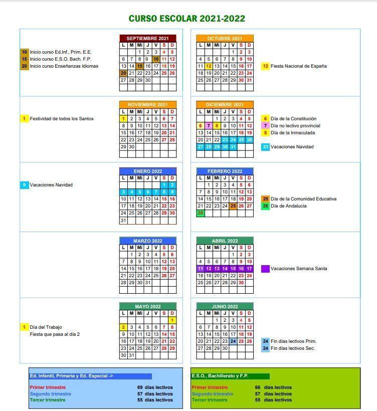 Calendario escolar 2021-2022