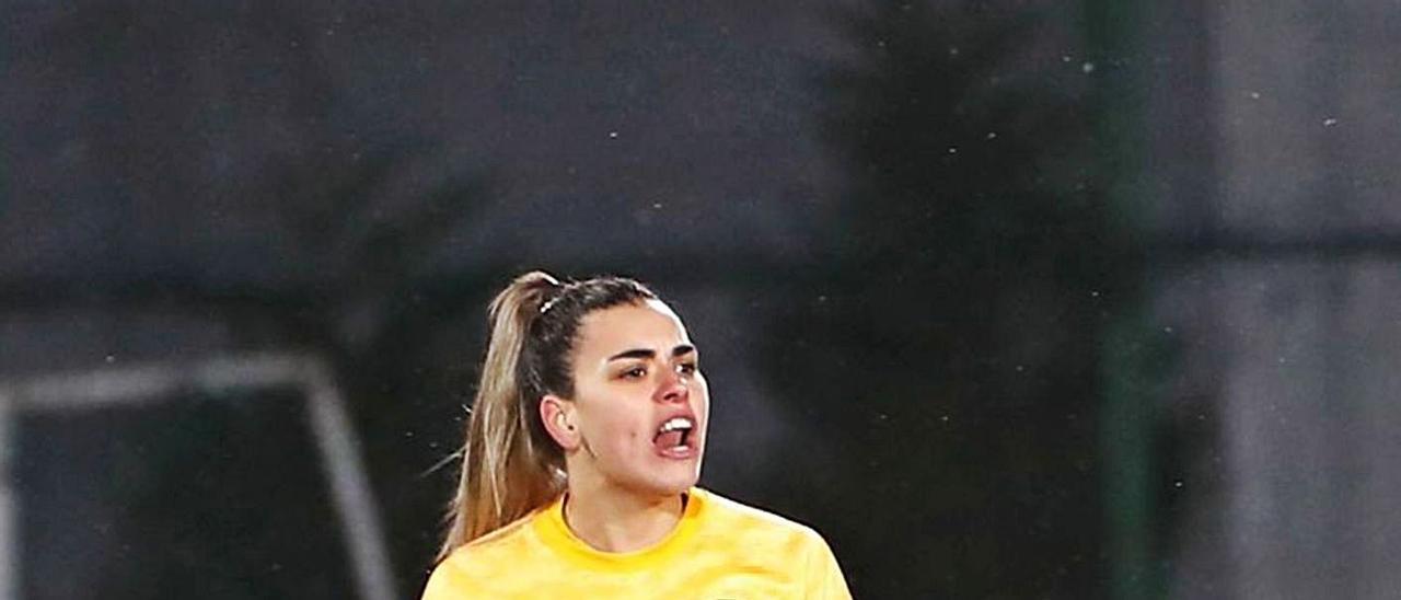 Misa Rodríguez, ayer, en su debut con la selección española absoluta, frente a Azerbaiyán.     RFEF