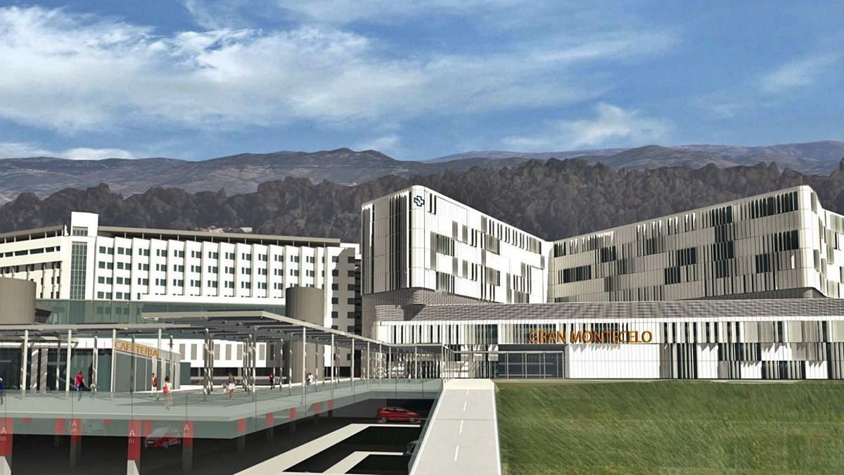 Maqueta del futuro complejo hospitalario de Pontevedra en Montecelo.   // FDV