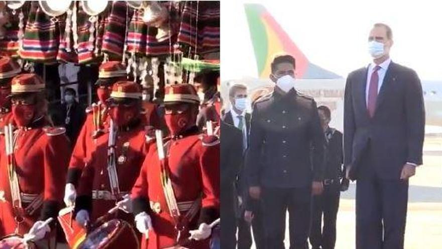 El surrealista y desafinado himno de España en la llegada de Felipe VI a Bolivia