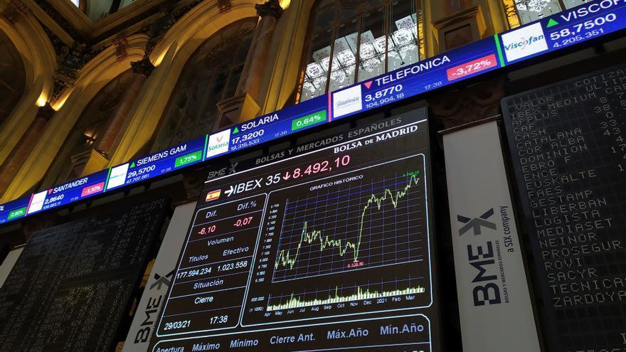 El Ibex 35 cierra con un alza del 1,21%, al filo de los 8.600 puntos