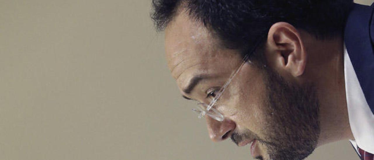 Antonio Hernando, ayer en una comparecencia de prensa en el Congreso.