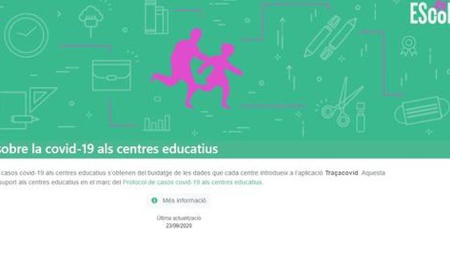 Educació crea un web per consultar l'afectació de la Covid en els centres