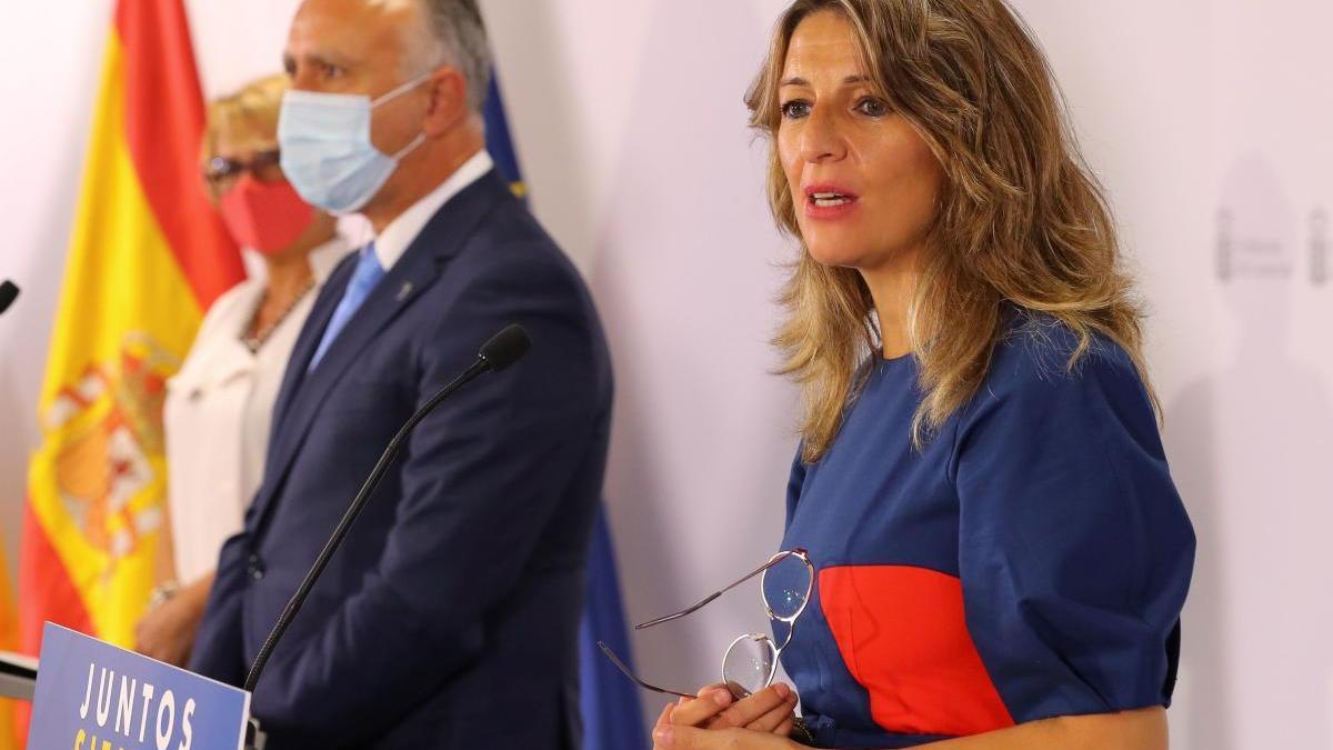 La ministra de Trabajo, Yolanda Díaz, este miércoles en Las Palmas de Gran Canaria