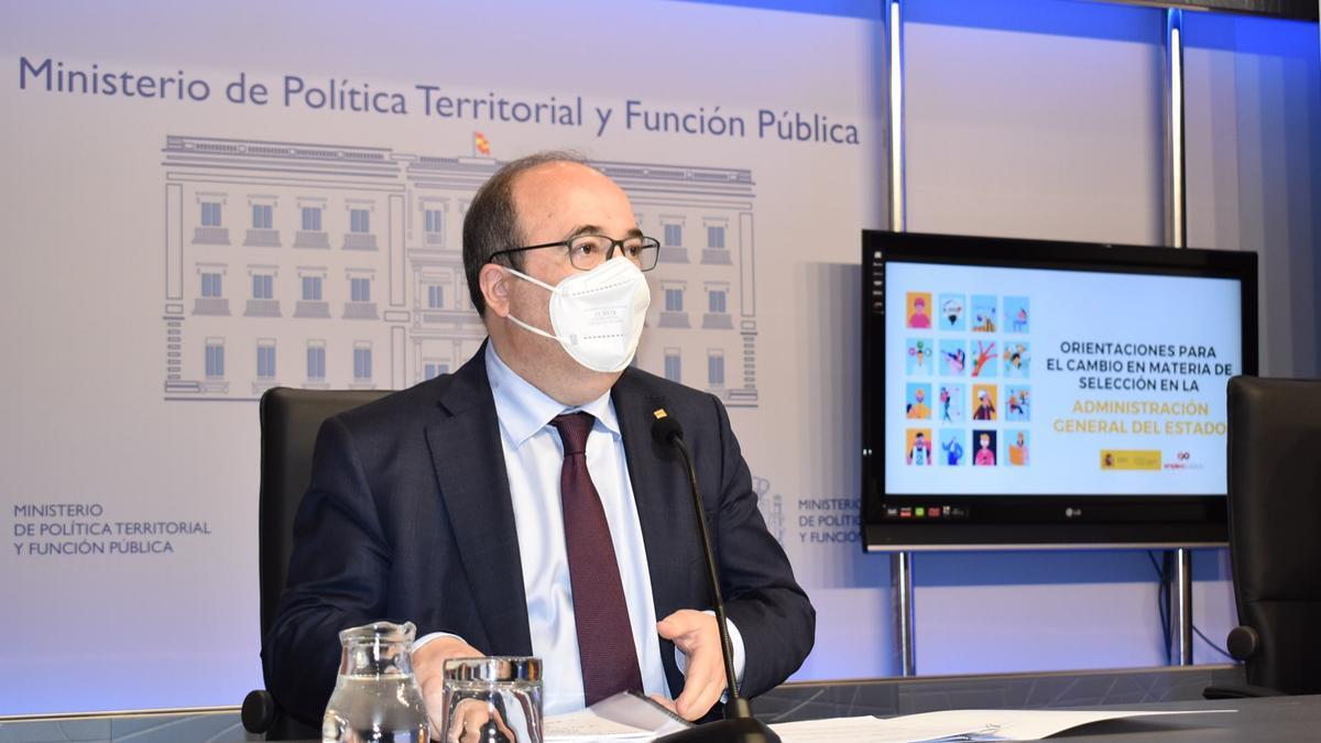 El ministre de Política Territorial i Funció Púbilca, Miquel Iceta, en una roda de premsa