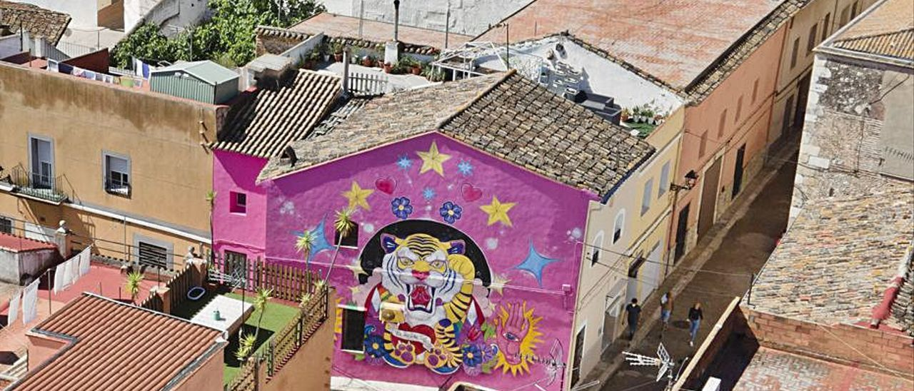 Vista aérea de una de las pinturas en el lateral de una casa.   LEVANTE-EMV