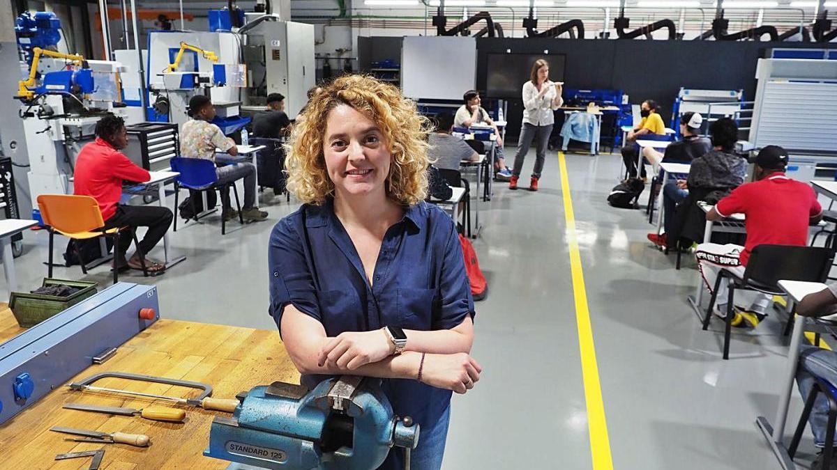 Georgina Comas a les instal·lacions de Comastech Centre Politècnic a Blanes.
