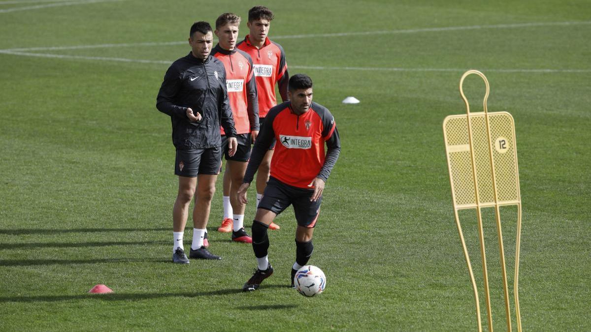 La plantilla del Sporting, en un entrenamiento.