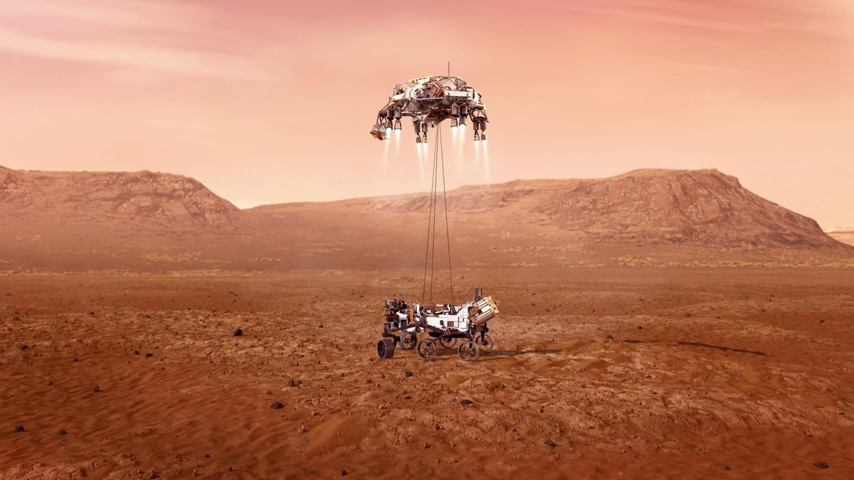 Illustration showing the Perseverance rover on Mars