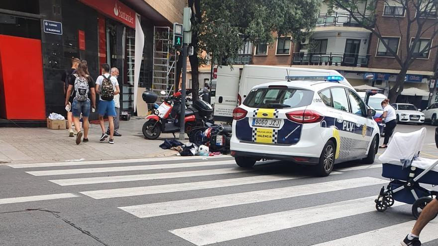 Herido un motorista en la calle Alboraya