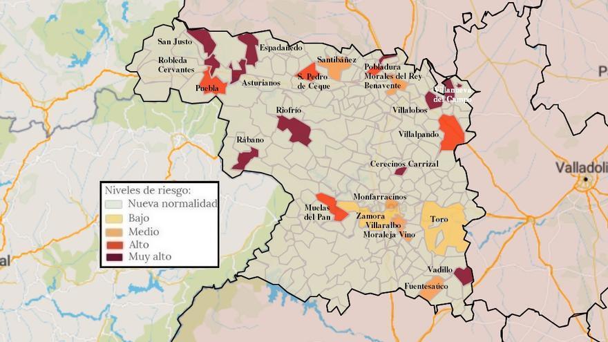 Mapa de coronavirus de Zamora, hoy, sábado | Las localidades con contagios, por debajo de la treintena