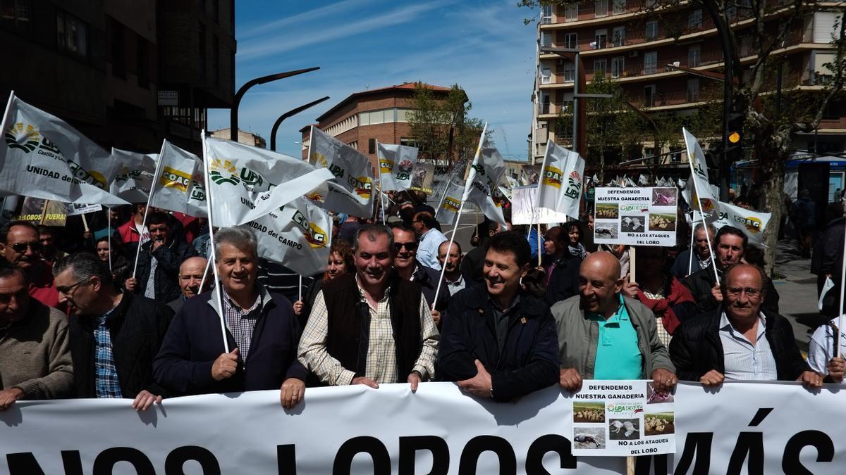 Organizaciones agrarias durante una manifestación contra los ataques del lobo en Zamora