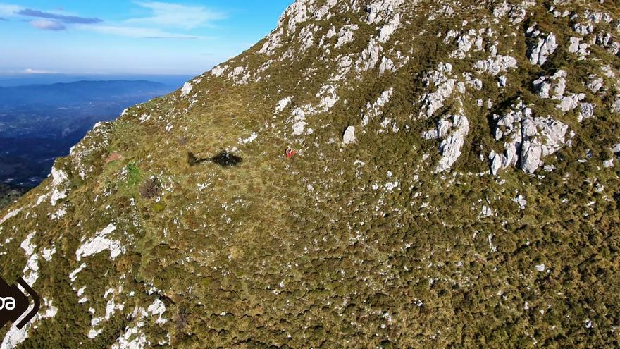 Rescatado un montañero herido cuando descendía del pico La Mostayal, en Morcín